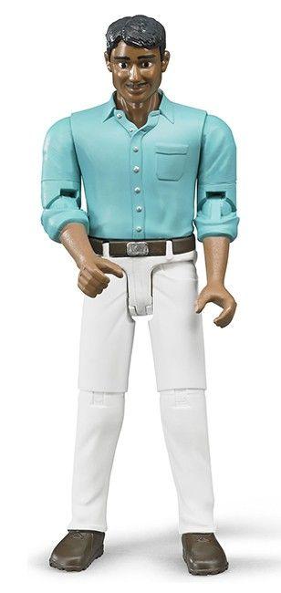 Figurka - Muž (snědá pleť), bílé kalhoty a modrá košile 60003 BRUDER Nářadí-Sklad 1 | 0