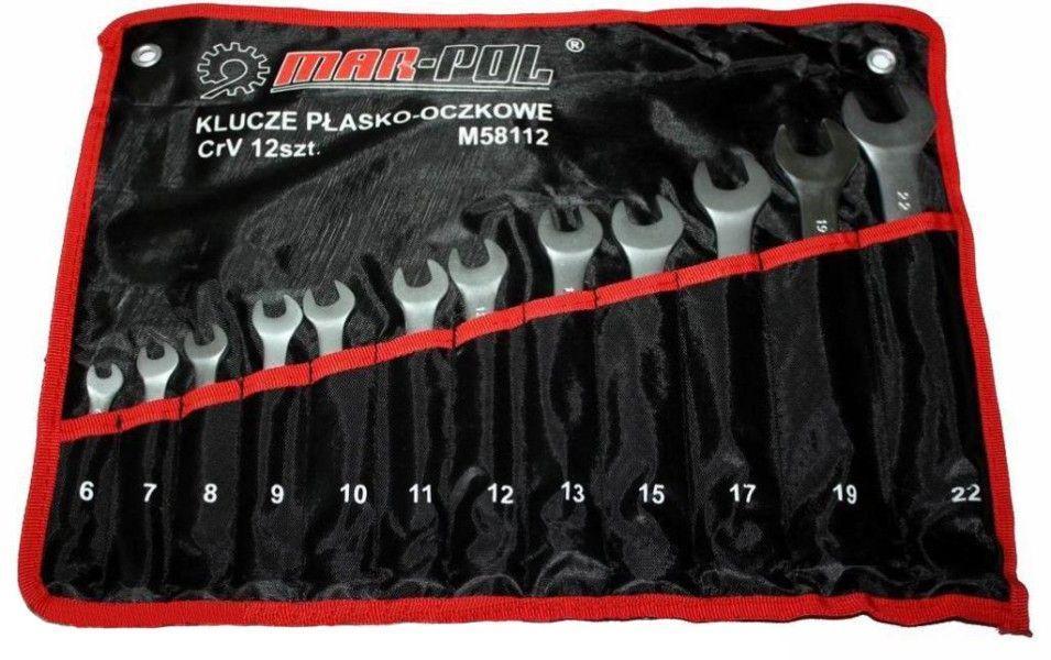 Klíče očkové-otevřené 12ks 6-22mm CrV MAR-POL, skládací obal