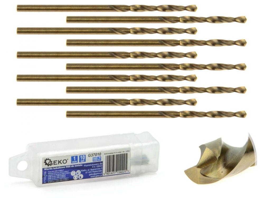Kobaltový vrták do kovu HSS-Co, DIN 338, 1mm, 10ks GEKO