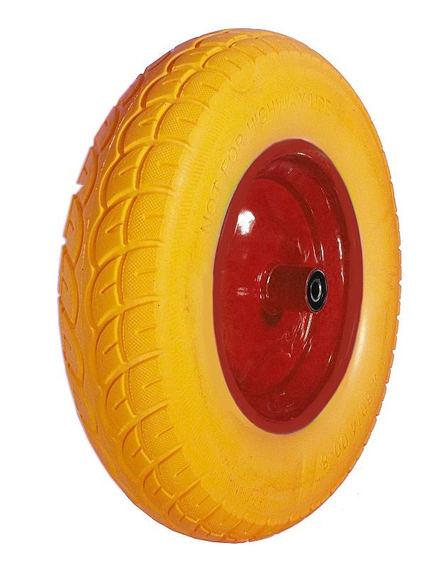 Kolo nenafukovací plné, žluto-červené PU 4,00-8