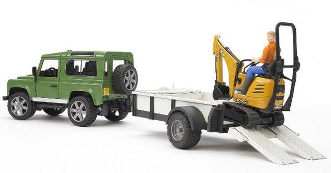 Land Rover Defender + přívěs + mini bagr JCB + dělník 02593 BRUDER Nářadí-Sklad 1 | 0