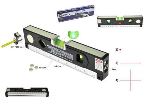 Laserová vodováha 1,5m, podsvětlená GEKO