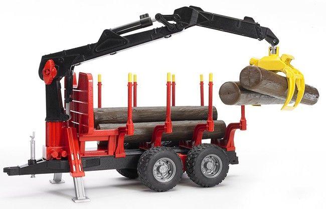 Přívěs, přepravník na dřevo s nakládacím ramenem + 4 klády 02252 BRUDER Nářadí-Sklad 1   0