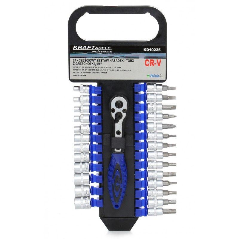 "Sada GOLA klíčů s ráčnou 1/4"", 27ks, CrV, 4-13mm KRAFT&DELE"