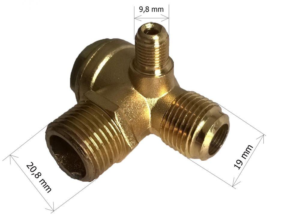 Zpětný trojcestný ventil kompresoru JN-30V, 9,8mm, 19mm, 20,8mm MAR-POL