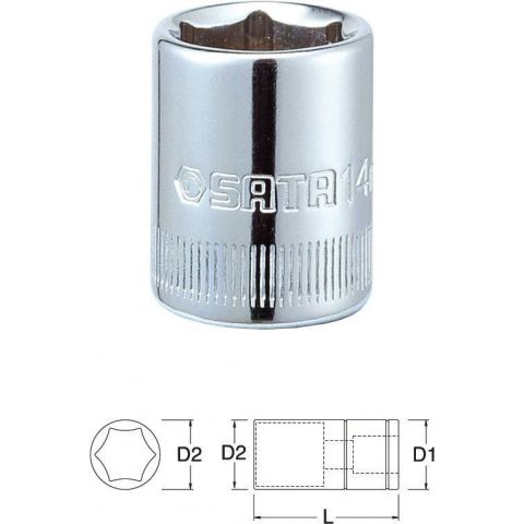"11306 1/4"" 6-ti hranná nástrčná hlavice 6,0mm SATA"