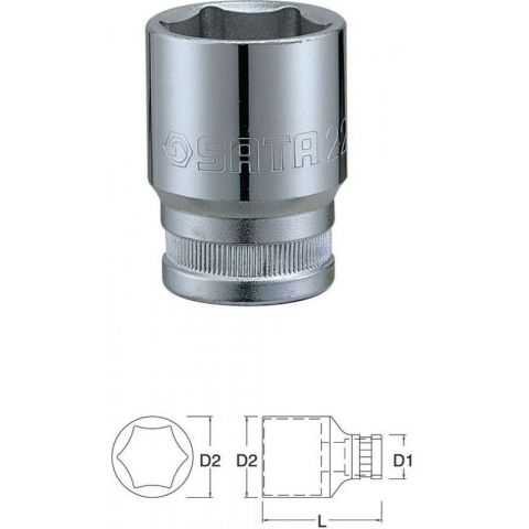"12301 3/8"" 6-ti hranná nástrčná hlavice 6mm SATA"