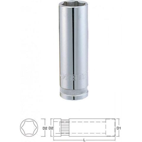 """13403 1/2"""" 6-ti hranná prodloužená nástrčná hlavice 12mm SATA"""