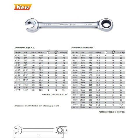 43202 Oboustranný klíč očko-ráčnový/otevřený-ráčnový 9mm SATA