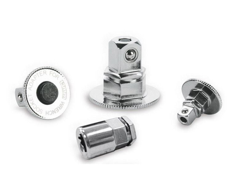 "Adaptéry k ráčnovým klíčům, sada 4ks, 1/4""(10mm)-3/8""(13mm)-1/2""(19mm)-HEX-bit(10mm), 61CrV5, FORTUM"