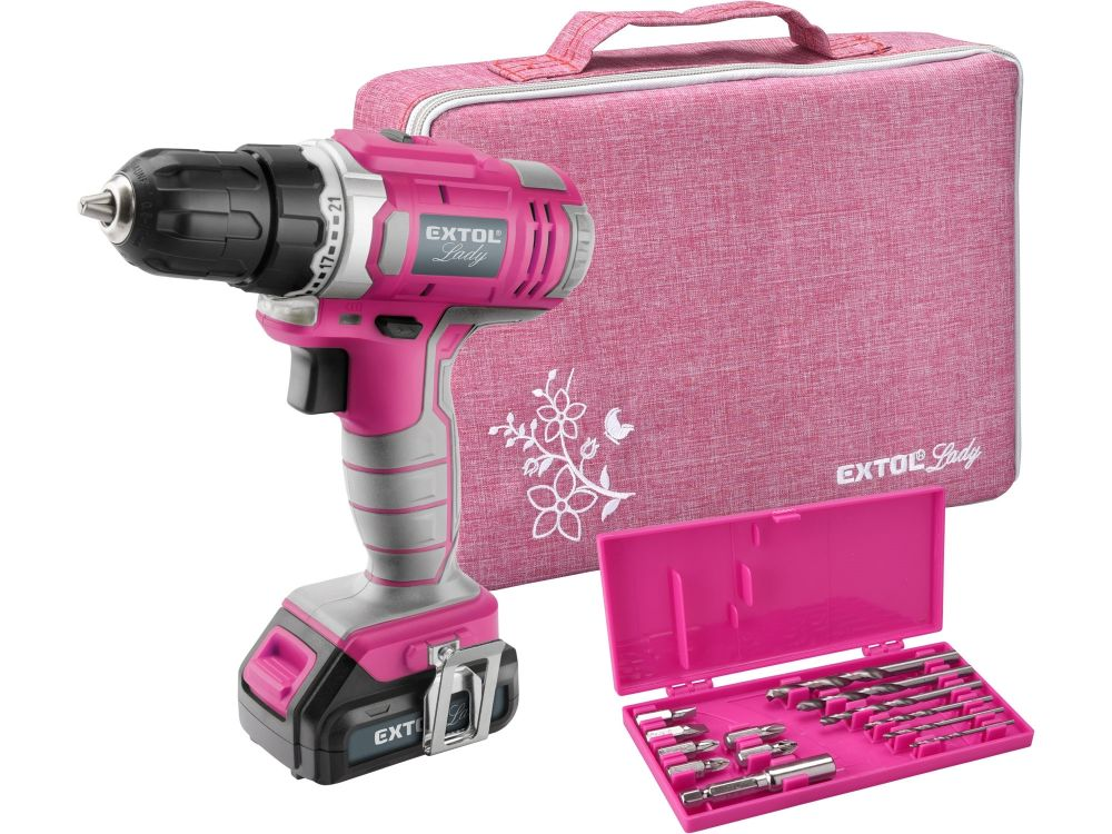 Aku vrtací šroubovák 12V, 1x1,3Ah Li-Ion, růžový v tašce EXTOL LADY *HOBY 2.222Kg 402401