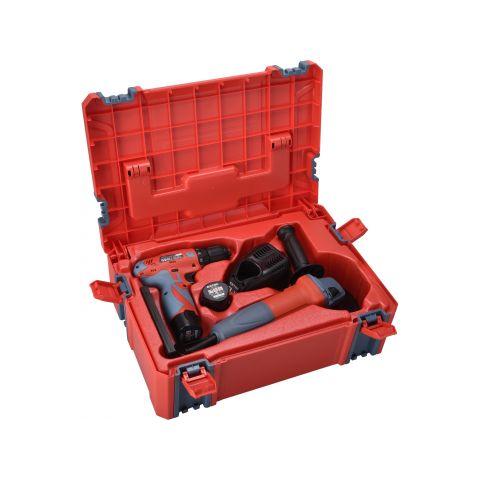 Aku vrtačka 12V, 2x1,5Ah Li-ion + úhlová bruska 125mm, 750W v plastovém boxu EXTOL PREMIUM