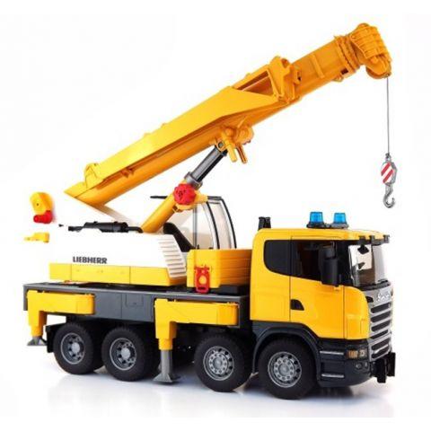 Autojeřáb Scania Liebherr, stavební jeřáb 03570 BRUDER