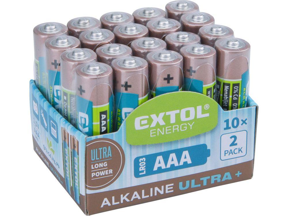 Baterie alkalické EXTOL ENERGY ULTRA +, 20ks, 1,5V AAA (LR03), EXTOL LIGHT Nářadí-Sklad 1 | 0.26