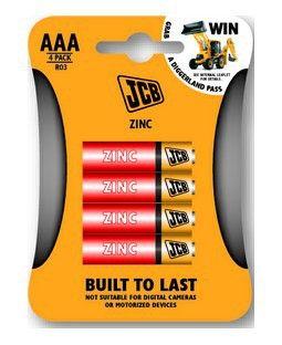 Baterie JCB zinkouhlíková R03/AAA, blistr 4ks