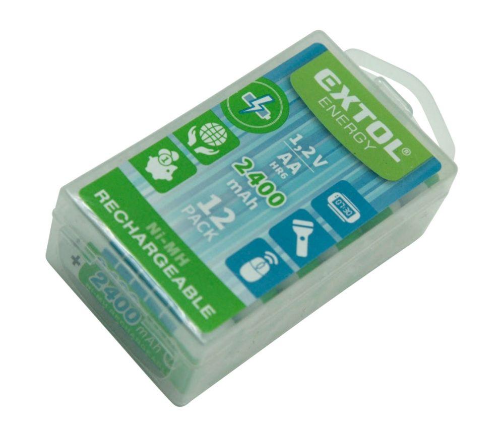 Baterie nabíjecí, 12ks, AA (HR6), 1,2V, 2400mAh, NiMh EXTOL ENERGY Nářadí-Sklad 1 | 0