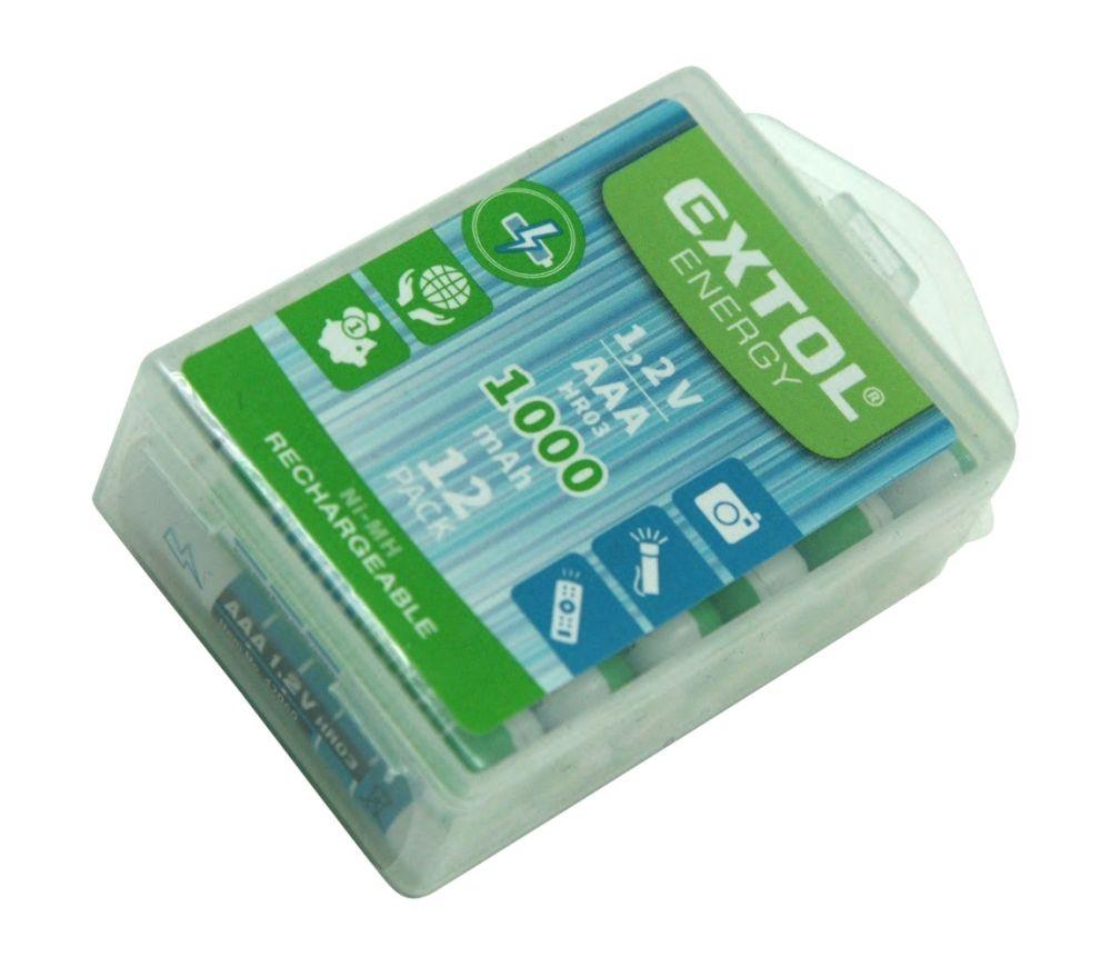 Baterie nabíjecí, 12ks, AAA (HR03), 1,2V, 1000mAh, NiMh EXTOL ENERGY Nářadí-Sklad 1 | 0