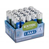 Baterie zink-chloridové, 20ks, 1,5V AAA (R03) EXTOL ENERGY