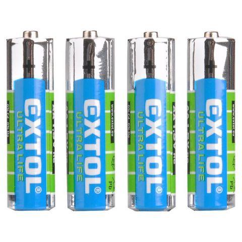 Baterie zinko-chloridové, 4ks, 1,5V AAA (LR03), EXTOL LIGHT