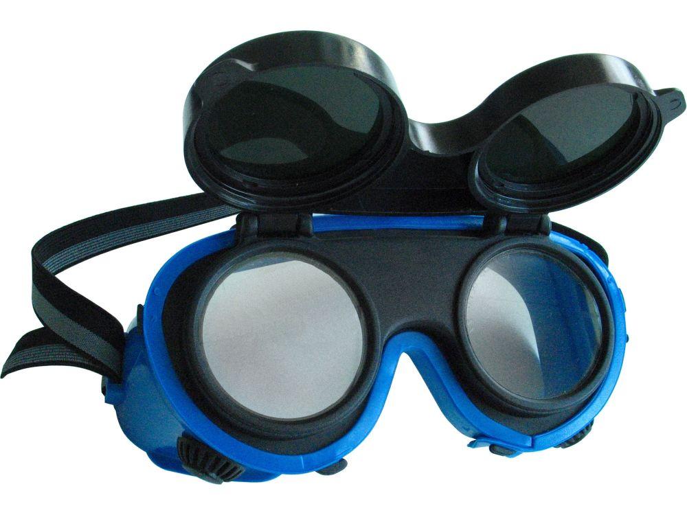 Brýle svářečské, odklápěcí kruhové zorníky třídy F, ochrana proti záření vznikajícím při svařování