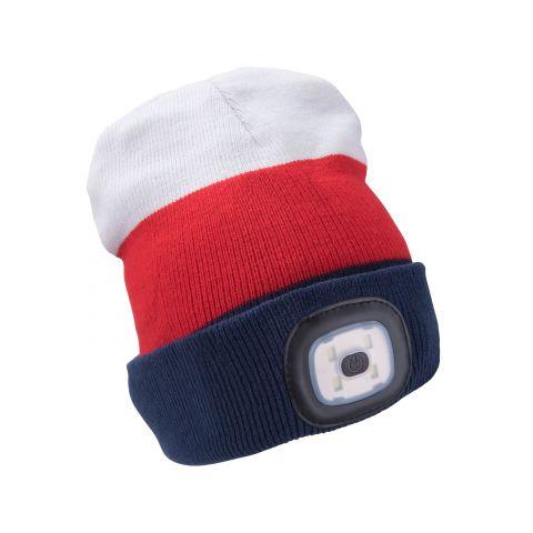 Čepice s čelovkou 45lm, nabíjecí, USB, bílá/červená/modrá, univerzální velikost EXTOL LIGHT