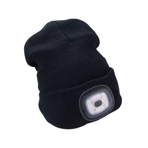 Čepice s čelovkou 45lm, nabíjecí, USB, černá, univerzální velikost EXTOL LIGHT