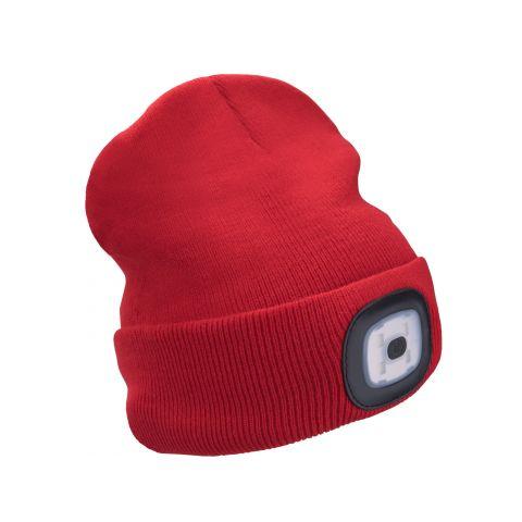 Čepice s čelovkou 45lm, nabíjecí, USB, červená, univerzální velikost EXTOL LIGHT