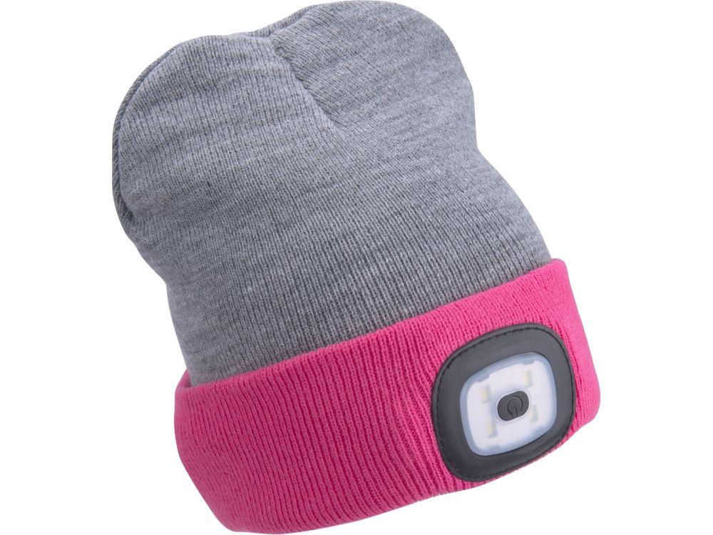 Čepice s čelovkou 45lm, nabíjecí, USB, světle šedá/růžová, oboustranná, univerzální velikost EXTOL LIGHT *HOBY 0.14Kg 43197