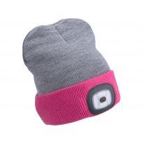 Čepice s čelovkou 45lm, nabíjecí, USB, světle šedá/růžová, oboustranná, univerzální velikost EXTOL LIGHT