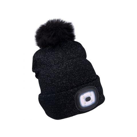 Čepice s čelovkou 4x45lm, nabíjecí, USB, černá se třpytkou a bambulí, univerzální velikost EXTOL LIGHT