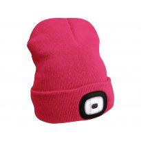 Čepice s čelovkou, nabíjecí, USB, růžová, univerzální velikost