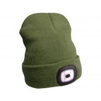 Čepice s čelovkou, nabíjecí, USB, zelená, univerzální velikost