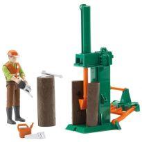 Dřevařský set - dělník s příslušenstvím + štípačka dřeva 62650 BRUDER