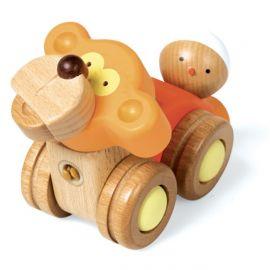 """Dřevěná skládačka """"MonkeyCar"""" - Auto / Opice"""