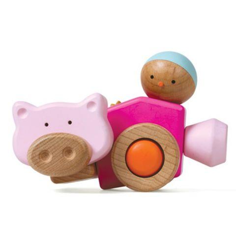 """Dřevěná skládačka """"PiggyCar"""" - Auto / Prasátko"""