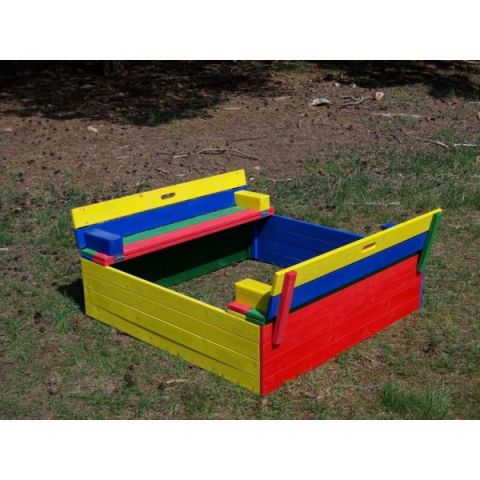 Dřevěné pískoviště s lavičkou - barevné KAXL