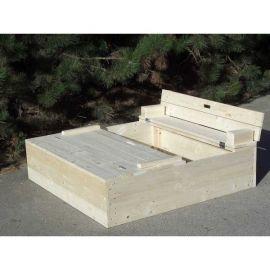 Dřevěné pískoviště s lavičkou - přírodní KAXL