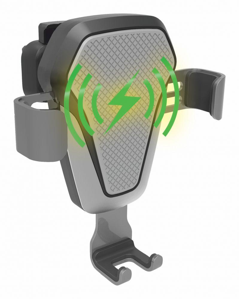 Držák telefonu LUKE-V bezdrátové nabíjení 10W silver COMPASS *HOBY 0.175Kg CO-06295