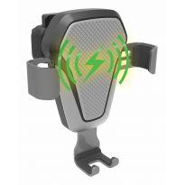 Držák telefonu LUKE-V bezdrátové nabíjení 10W silver COMPASS