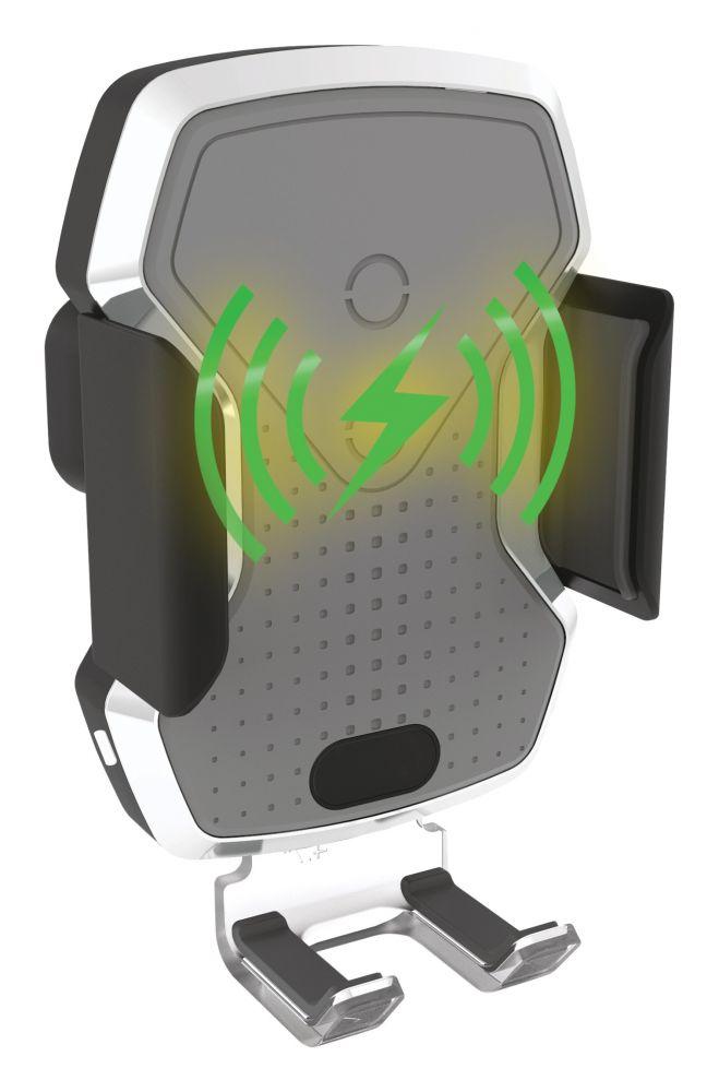 Držák telefonu LUKE-X bezdrátové nabíjení 10W silver COMPASS *HOBY 0.195Kg CO-06301