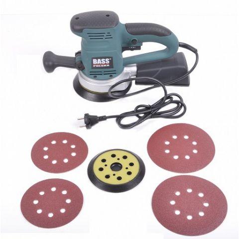 Excentrická vibrační bruska 450W s příslušenstvím, BASS