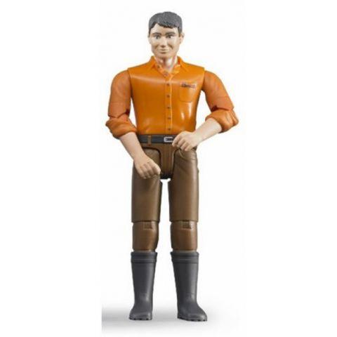 Figurka - Muž (světlá pleť), hnědé kalhoty a oranžová košile 60007 BRUDER