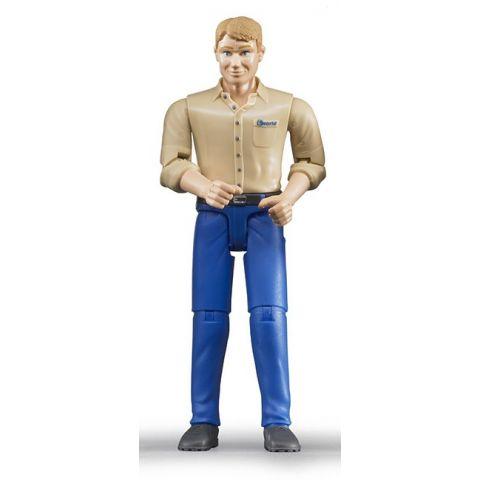 Figurka - Muž (světlá pleť), modré kalhoty a světlá košile 60006 BRUDER
