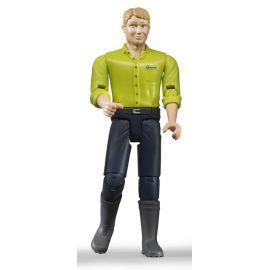 Figurka - Muž (světlá pleť), tmavé kalhoty a zelená košile 60005 BRUDER