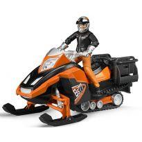 Figurka - Řidič s příslušenstvím + sněžný skútr 63101 BRUDER
