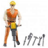 Figurka - Stavební dělník + příslušenství 60020 BRUDER