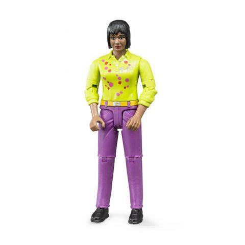 Figurka - Žena (snědá pleť), fialové kalhoty 60403 BRUDER