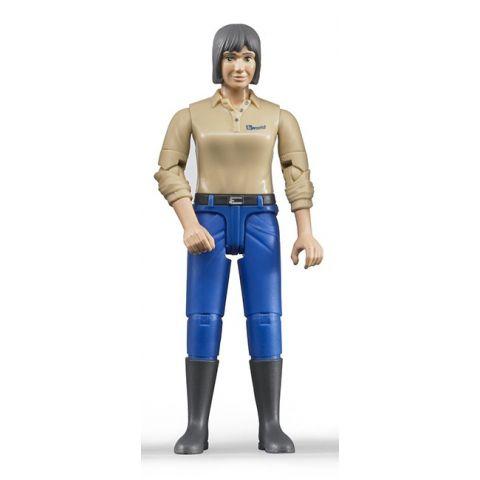 Figurka - Žena (světlá pleť), modré kalhoty 60406 BRUDER