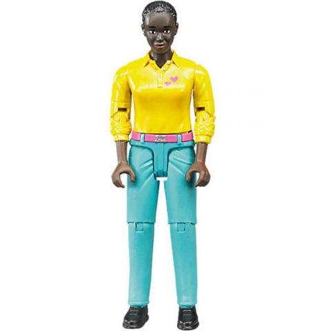 Figurka - Žena (tmavá pleť), modré kalhoty 60404 BRUDER