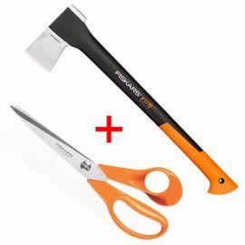 FISKARS sekera štípací X17 M + nůžky 21cm (122463+859853)